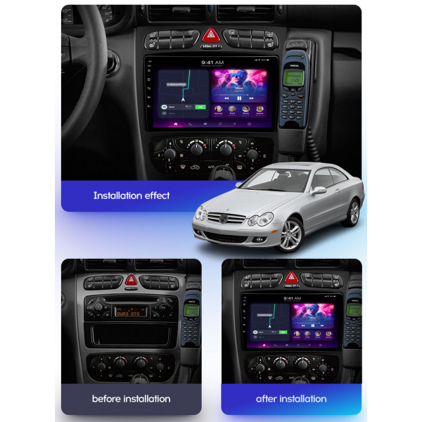 Mercedes Benz A-Class/C-Class/CLK/ML/Viano 2000 - 2005 9 Inch Android Satnav Radio Car Audio Sound System